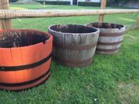 Oak wood half barrel planters