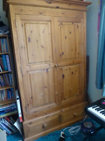 Large chunky solid wood pine wardrobe with drawers- not flat pack