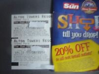 TWO ALTON TOWERS TICKETS FOR FRIDAY 11TH AUGUST 2017 ADMITS ADULT OR CHILD