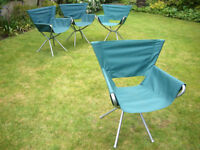 4 canvas and metal garden chairs for sale