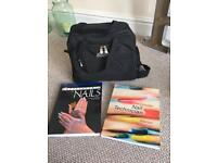 Beauty bag, contents and 2 text books