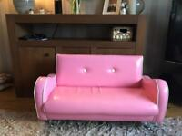 Girls pink faux leather sofa