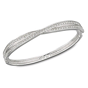 Swarovski hinged crossed crystal bangle