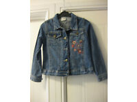 GIRLS DENIM JACKET Age 5-7 (by ladybird) flower design & pockets - great for summer evenings REDUCED