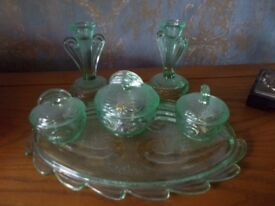 Gorgeous Green Glass Dressing Table Set