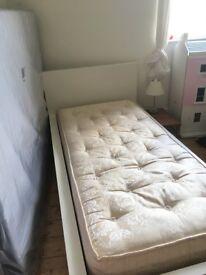IKEA single white painted bed frame, slatted base