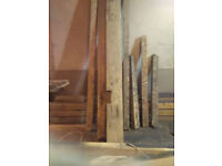 Reclaimed pine wooden beams