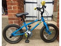 Boys bike, 16', good condition, few bumps&bruises, £15, apollo 38 brand, blue frame, yellow handles.