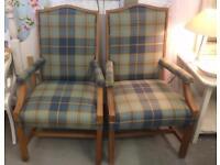 2 tartan armchairs