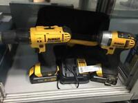 Dewalt 18v drill DCD776 & impact driver DCF885 bag, charger & manuals