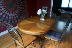 Wood/Wrought Iron Dining Set