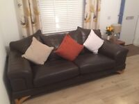 2 Large brown Leather Sofas for sale