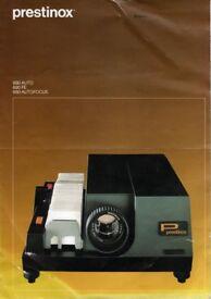 Prestinox auto focus vintage slide projector. Extra carousel slide holder, automatic slide change