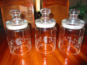 Princess House Heritage Crystal Canisters, Beverage Glasses