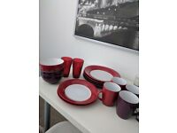 Red & Purple Full Tableware Dining set, plates, blows, mugs, glasses