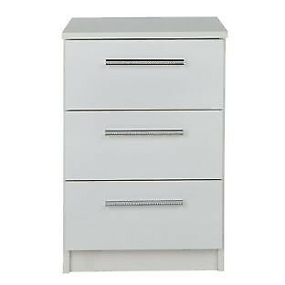 Sparkle 3 Drawer Bedside Chest - White
