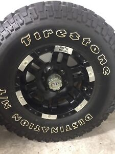 4 Firestone Destination MT on Chevy 6 bolt Moto Metal wheels