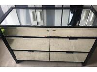 Next Black High Gloss Wide Mirrored Double Chest of Drawers