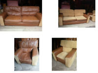 BEAUTIFUL ITALIAN FABRIC AND LEATHER LARGE 2 SEATER SOFA AND CHAIR REVERSIBLE CUSHIONS AND POUFFEE
