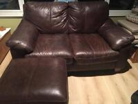 2 Seater Leather Sofa and Poof