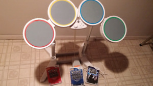 Set of Wii Drums and 3 Games