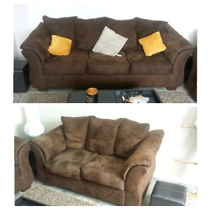 Microfiber Pillowback Sofa with love seat