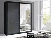 Lux 180 2 Door Sliding high gloss + Mirror Wardrobe black or white black&white white&black