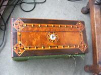 Antique sewing, work or jewellery box. Amboyna, tulipwood banding, tunbridgeware. In excellent cond.