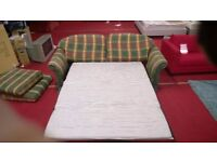 green checked fabric 3 seater sofabed