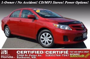 2013 Toyota Corolla CE Certified! 1-Owner / No Accident! CD/MP3