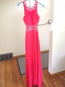 Beautiful Coral Side Cut out Open Back Dress