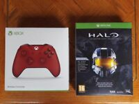 NEW Official Microsoft Xbox One Wireless Red Controller Gamepad + Halo The Master Chief Collection