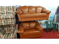 3 & 2 tan leather sofas