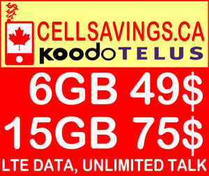 Unlimited 49$/Mth + 6GB LTE Data - Cellsavings.ca Plans by John