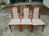 Set of 3 wooden chairs with fabric seats