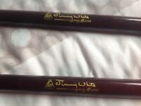 2 x BCE JIMMY WHITE POOL CUES pool master
