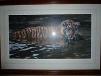 Limited Edition Print, framed with image of Indian Tiger.