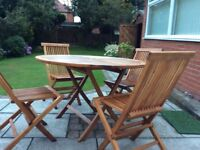 Large Hardwood Patio Table and Four Chairs