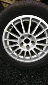 Oz Alloy wheels (BMW fitting) x 4 with good tyres.