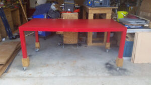 Red Parsons Table for Dining or Workshop