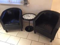 2 chairs and clock table