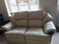 Used, leather 2 seater sofa in fair condition. Very comfortable. Only £33 negotiable