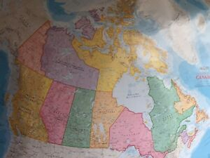Canada wall map -large-have 26 left at $1 each or bulk deal