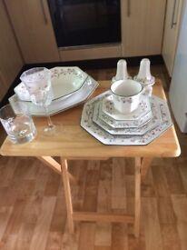 52 piece Eternal Beau collection. Tea set, dinner set and additional wall clock. Crayford, Kent