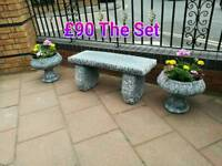 Concrete benches wooden benches planters hanging baskets garden furniture items