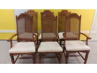 6 carved dining chairs, solid oak, sturdy, stable, cushion clean, 2 carvers