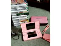 Pink Nintendo DS Lite With 9 Games, Hardback Case, and Charger