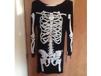 Women's Spooky Scary Skeleton Dress - S/M