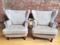 Two Biedermeier Armchairs, recovered in White Buffalo OBO. late 19th century