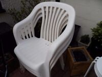 Six White Plastic Sturdy Chairs